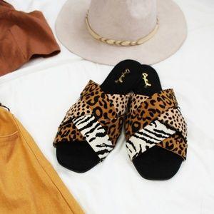Shoes - 🆕//The Cape Cod// Animal print Criss Cross Slides